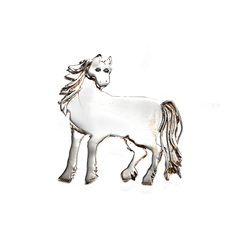 Mia Fonssagrives-Solow Sterling Silver De Chirico Horse With Sapphire Brooch