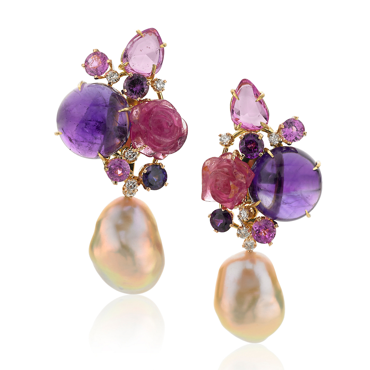 Russell Trusso Amethyst & Tourmaline Earrings with Pearl Drops