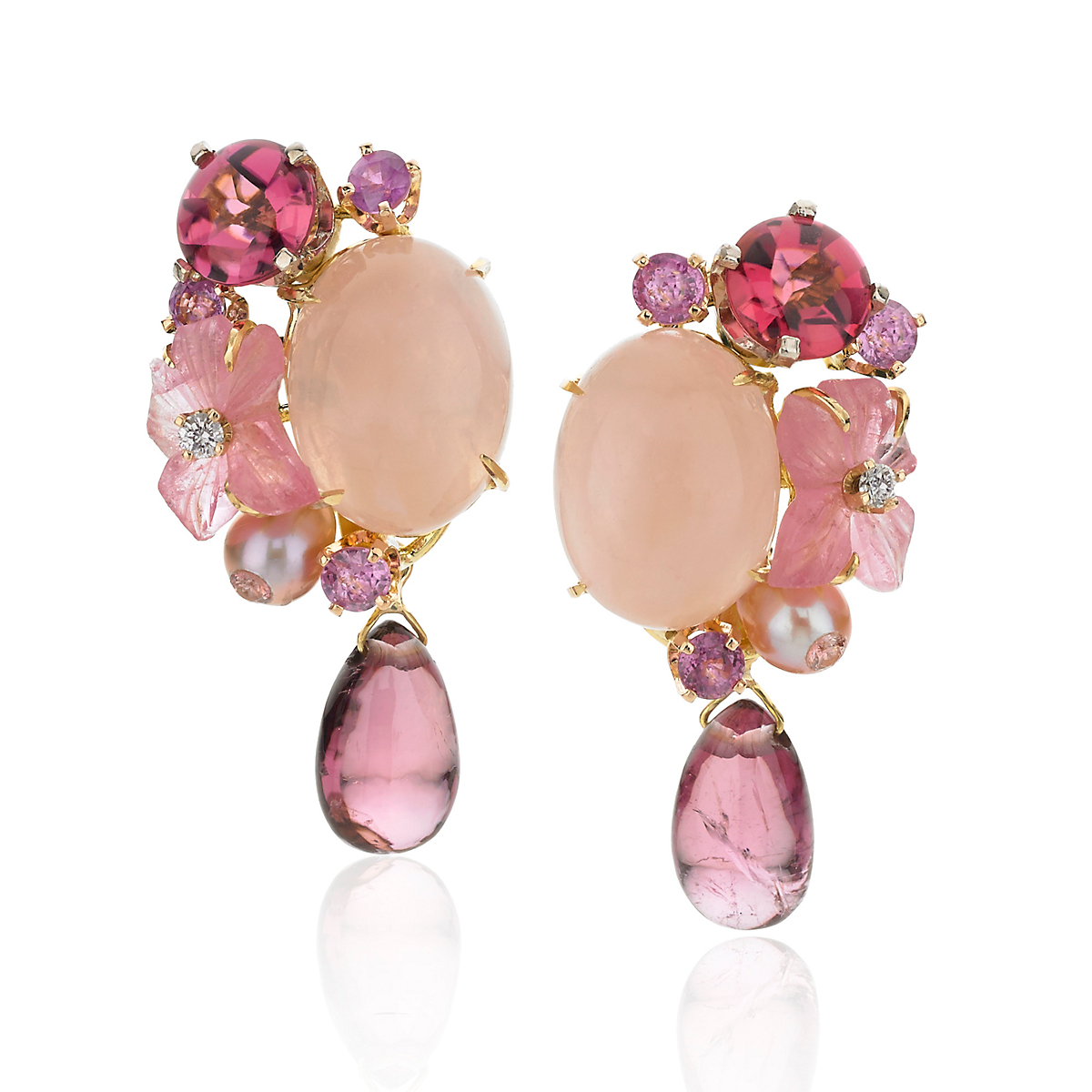 Russell Trusso Rose Quartz & Tourmaline Drop Earrings