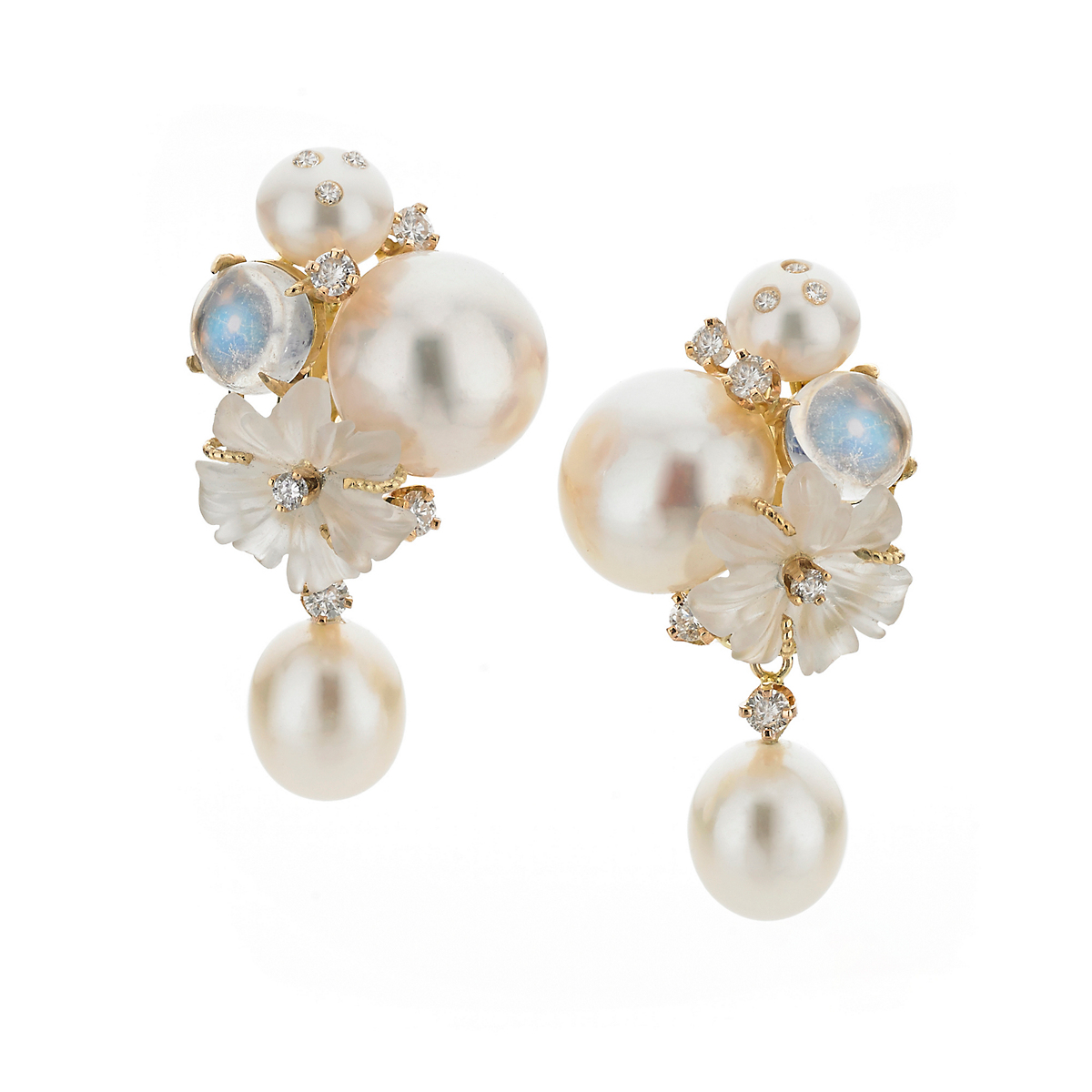 Russell Trusso Moonstone & Crystal Earrings With Pearl Drops