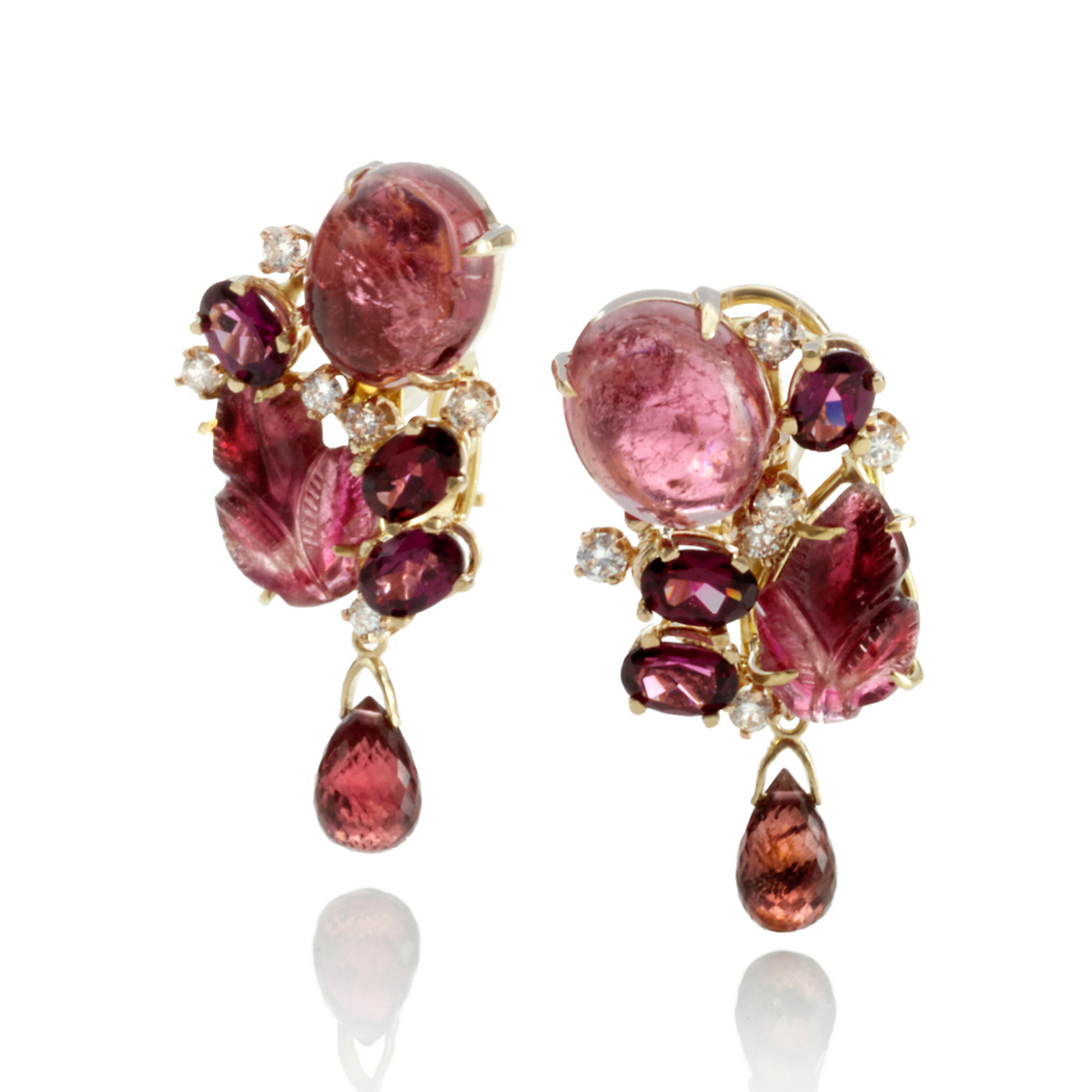 Russell Trusso Red Tourmaline & Diamond Drop Earrings