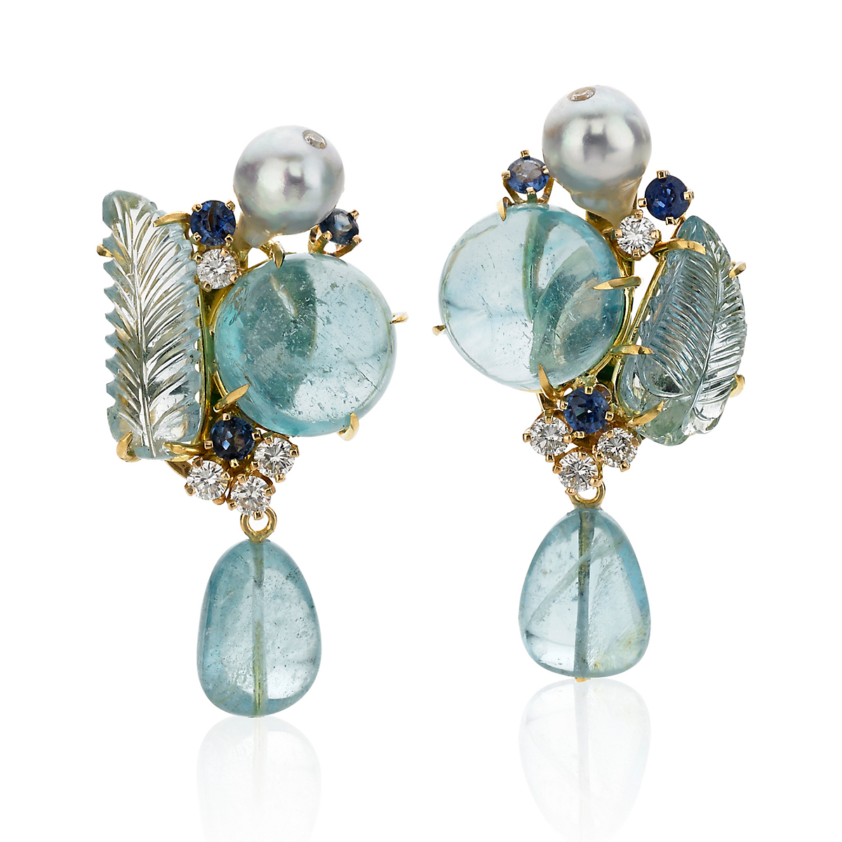 Russell Trusso Sapphire, Diamond & Aqua Drop Earrings