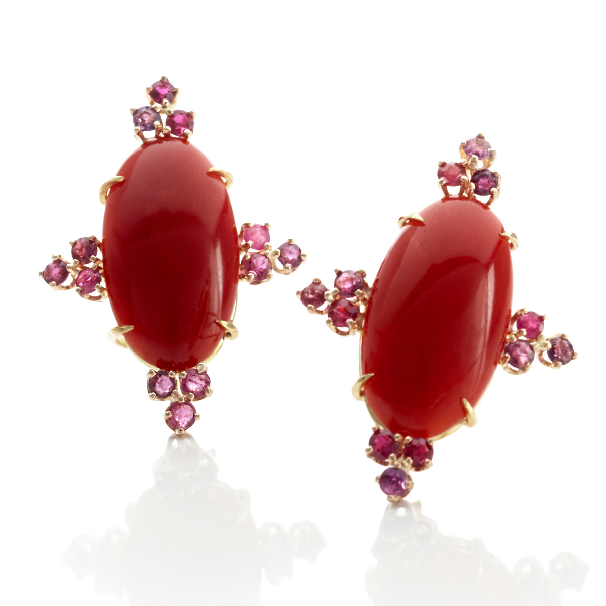 Russell Trusso Coral & Ruby Earrings