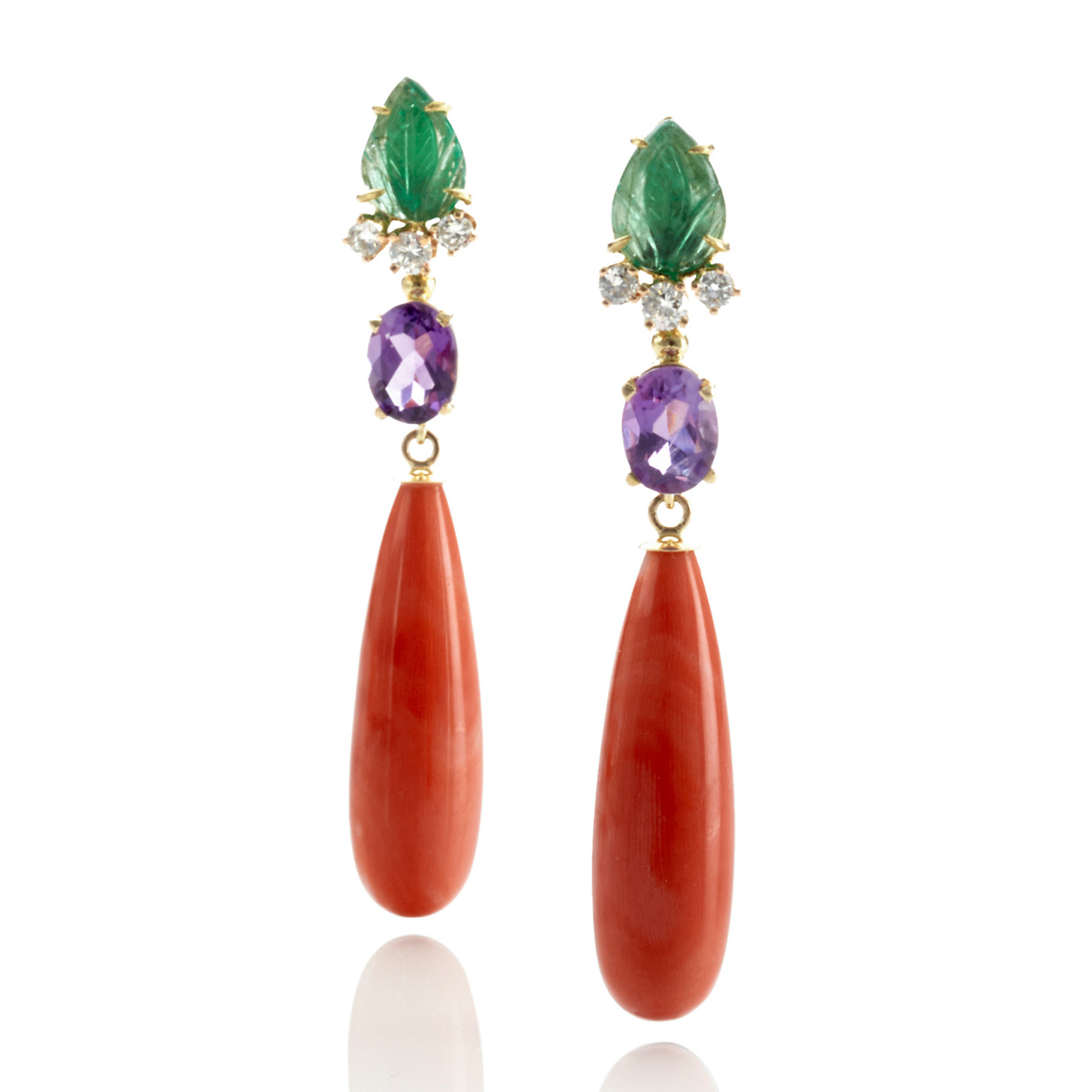Russell Trusso Emerald & Amethyst Earrings With Coral Drops