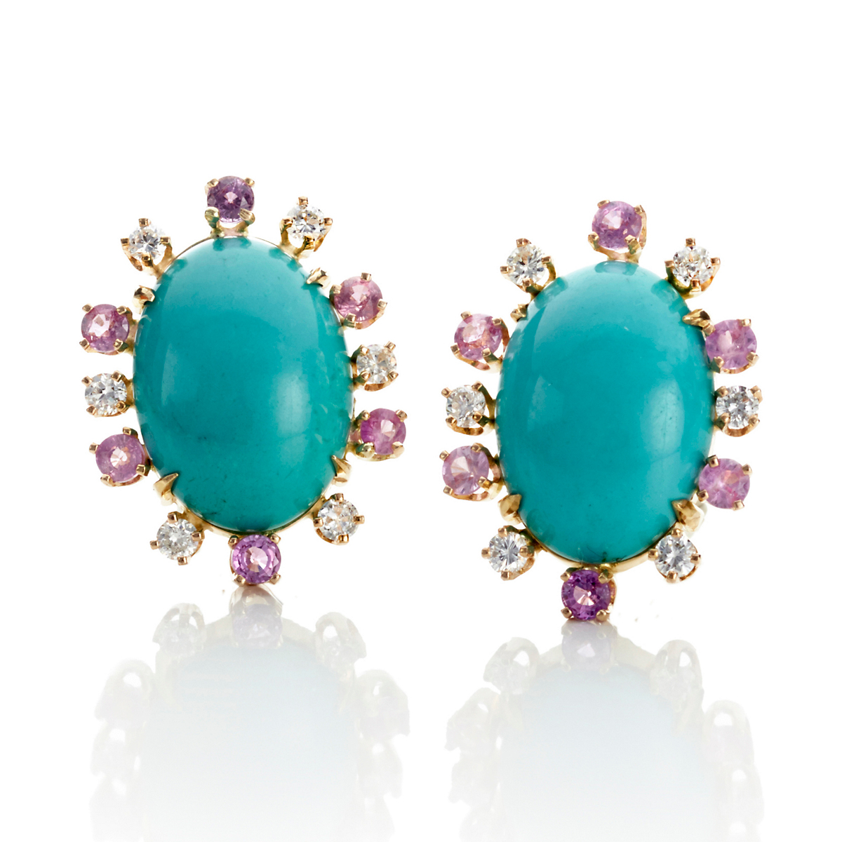 Russell Trusso Turquoise, Pink Sapphire & Diamond Earrings