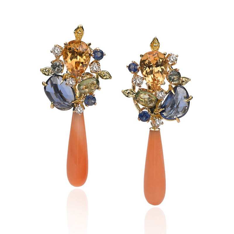 Russell Trusso Spinel & Sapphire Earrings With Coral Drops