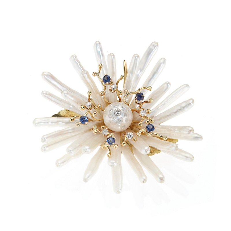 Russell Trusso White Stick Freshwater Cultured Pearl & Sapphire Flower Brooch