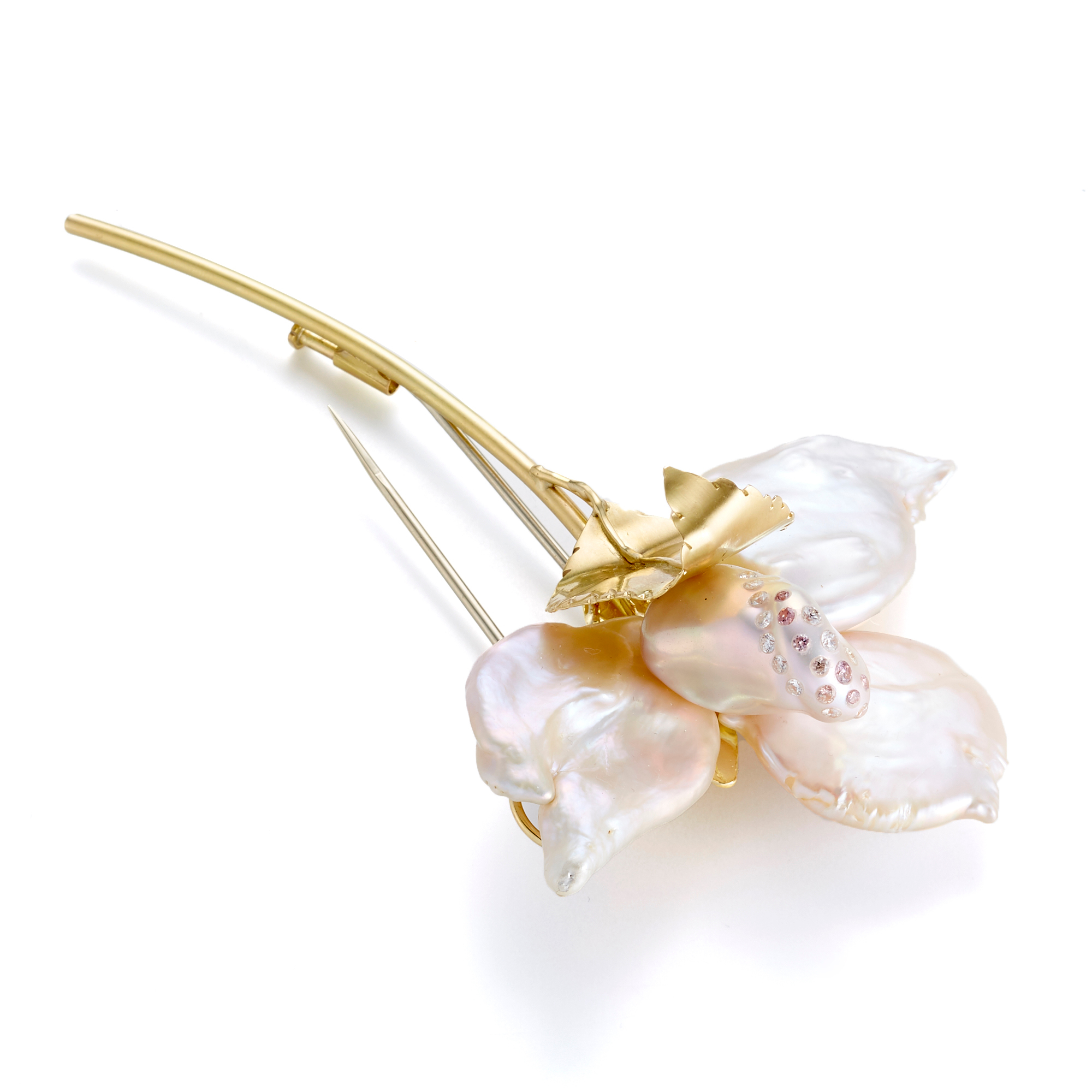 Russell Trusso Baroque Pearl Flower Stem Brooch