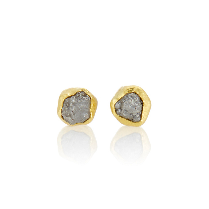 Petra Class Petite Rough Diamond Stud Earrings