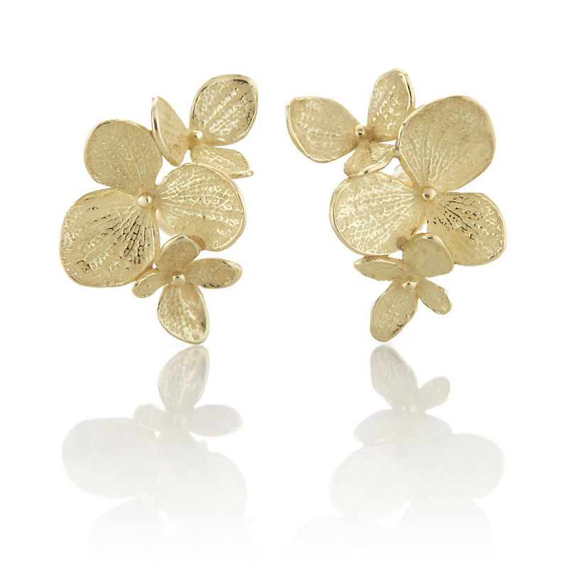 John Iversen Gold  Hydrangea Trio Earrings