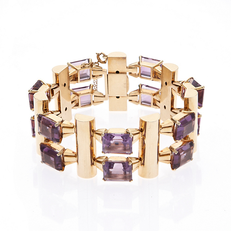 Estate Retro Gold & Amethyst Two Row Link Bracelet