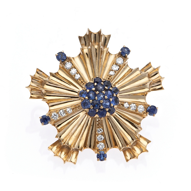 Estate Retro Sapphire & Diamond Starburst Brooch