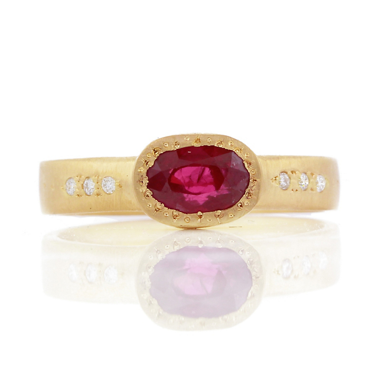 Adel Chefridi Bead Set Ruby Oval Ring