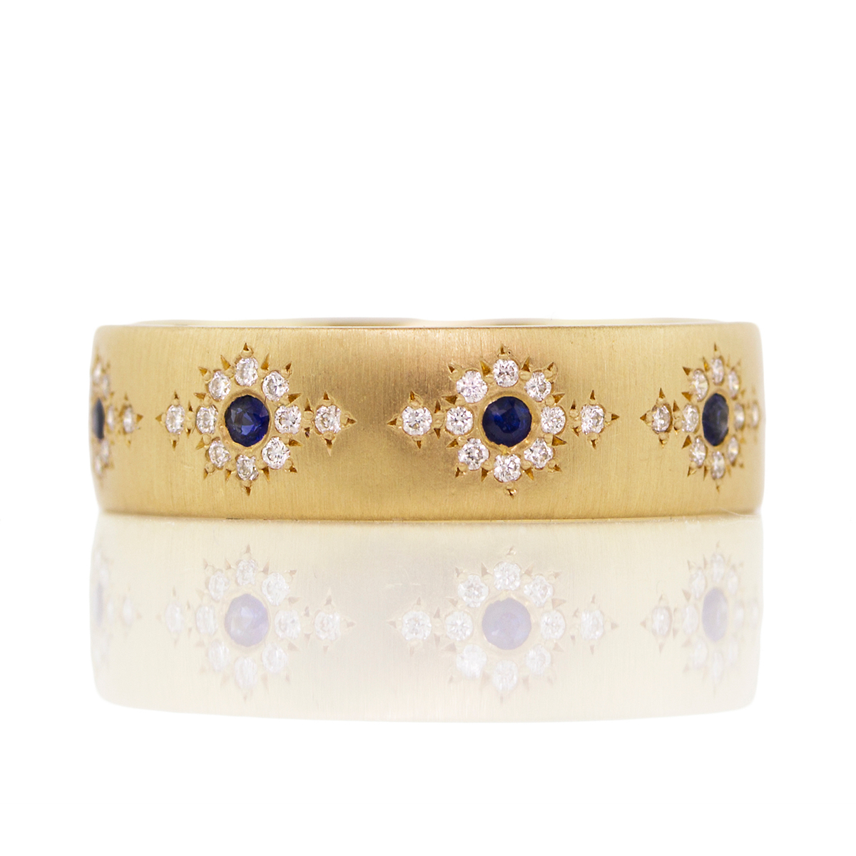 Adel Chefridi Diamond & Sapphire Shimmer Band Ring
