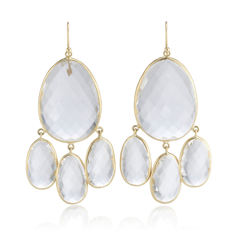 Kothari Large Clear Quartz Chandelier Earrings