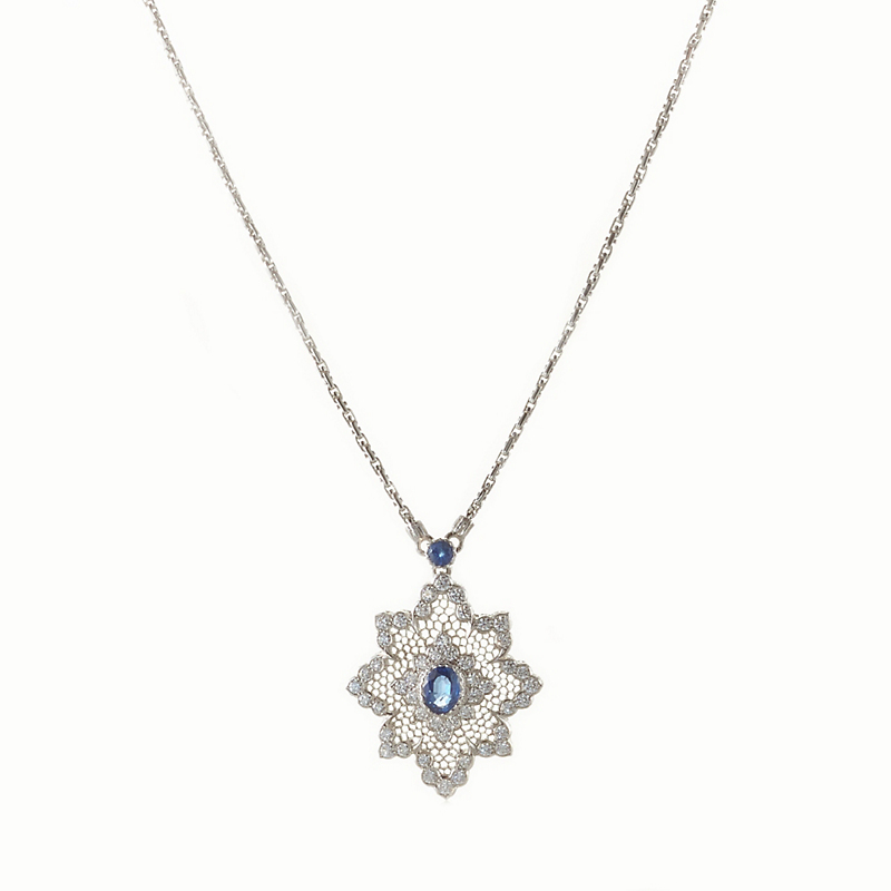 Buccellati Diamond and Sapphire Honeycomb Pendant Necklace