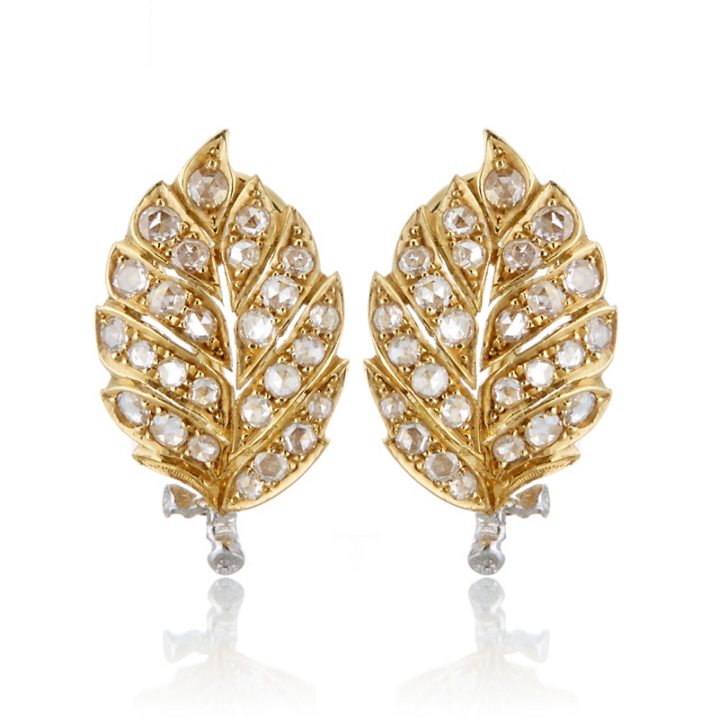Buccellati Eva Leaf with Diamonds Earrings
