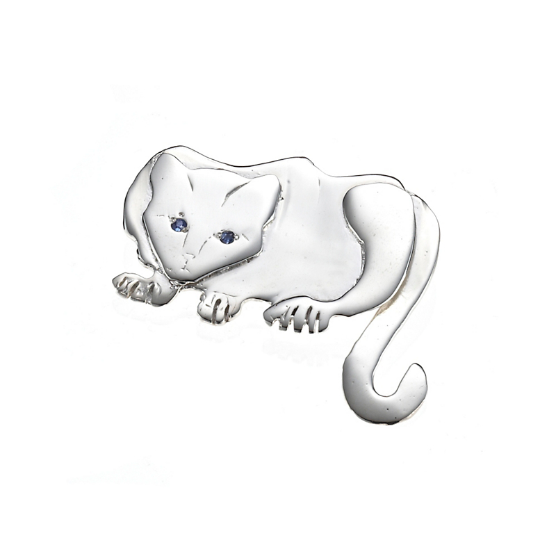 Mia Fonssagrives-Solow Sterling Silver Hemingway Cat With Sapphire Brooch