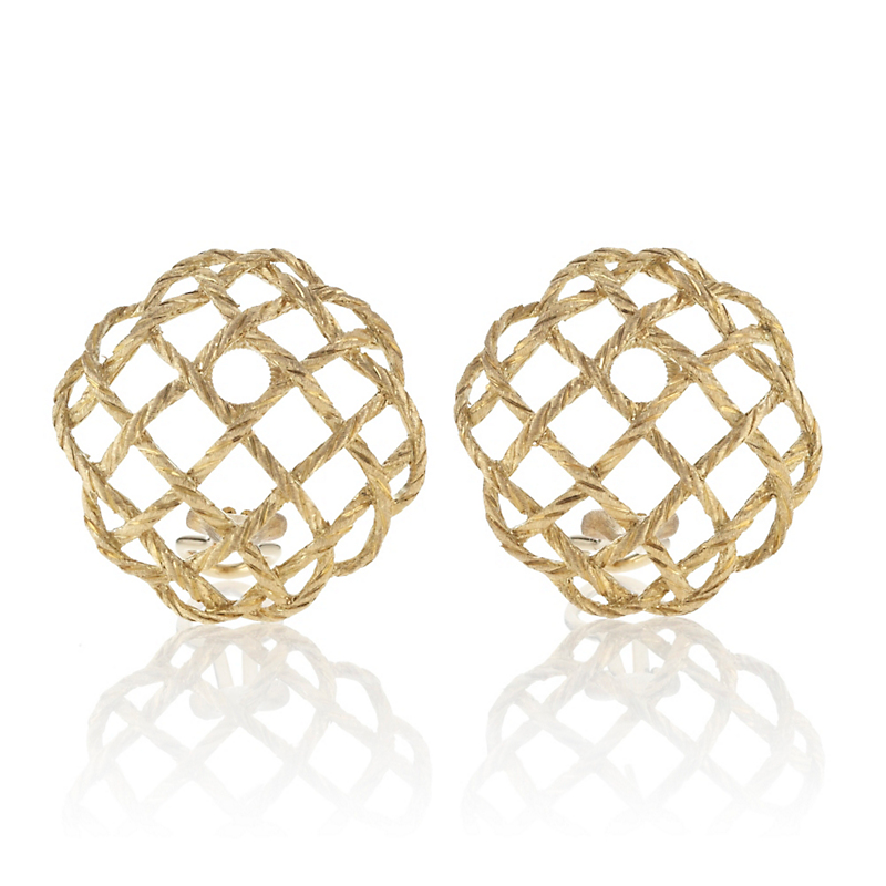 Buccellati Crepe de Chine Gold Button Earrings