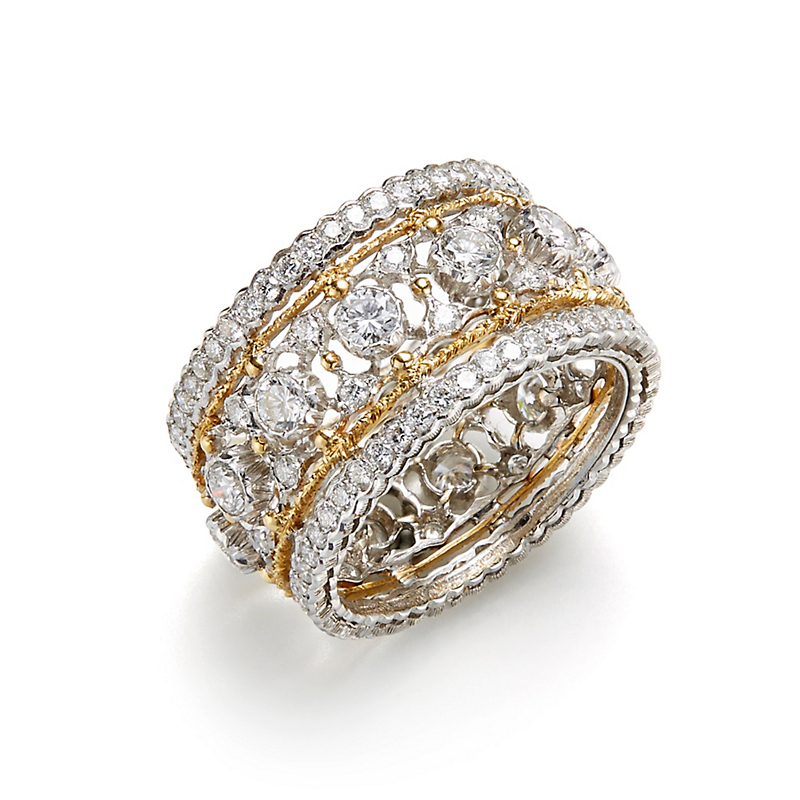 Buccellati Open Work Band Diamond Band Ring