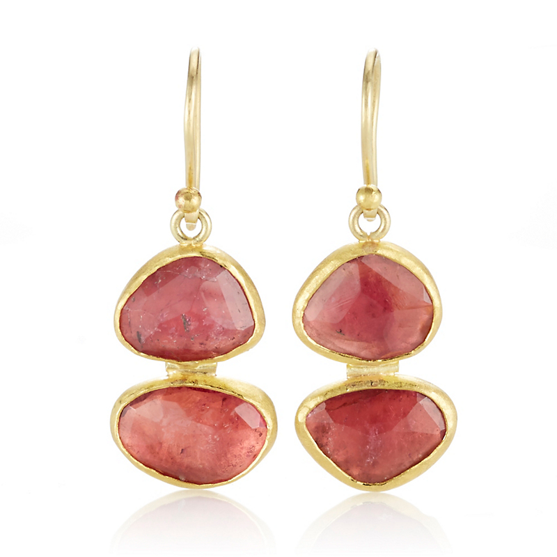 Petra Class Red Tourmaline Rose Cut Double Drop Earrings