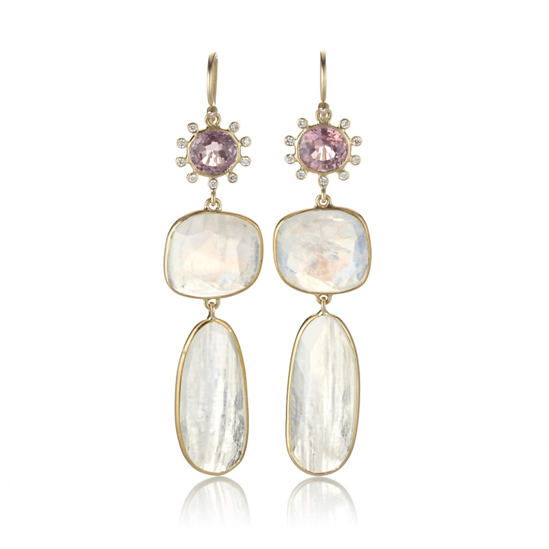 Kothari Pink Spinel & Rainbow Moonstone Drop Earrings