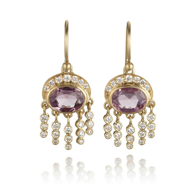 Kothari Small Pink Sapphire & Diamond Grecian Earrings
