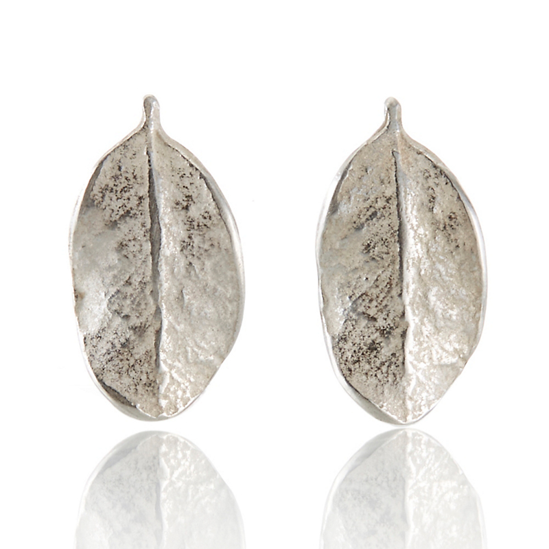 John Iversen Sterling Silver Boxwood Leaf Earrings