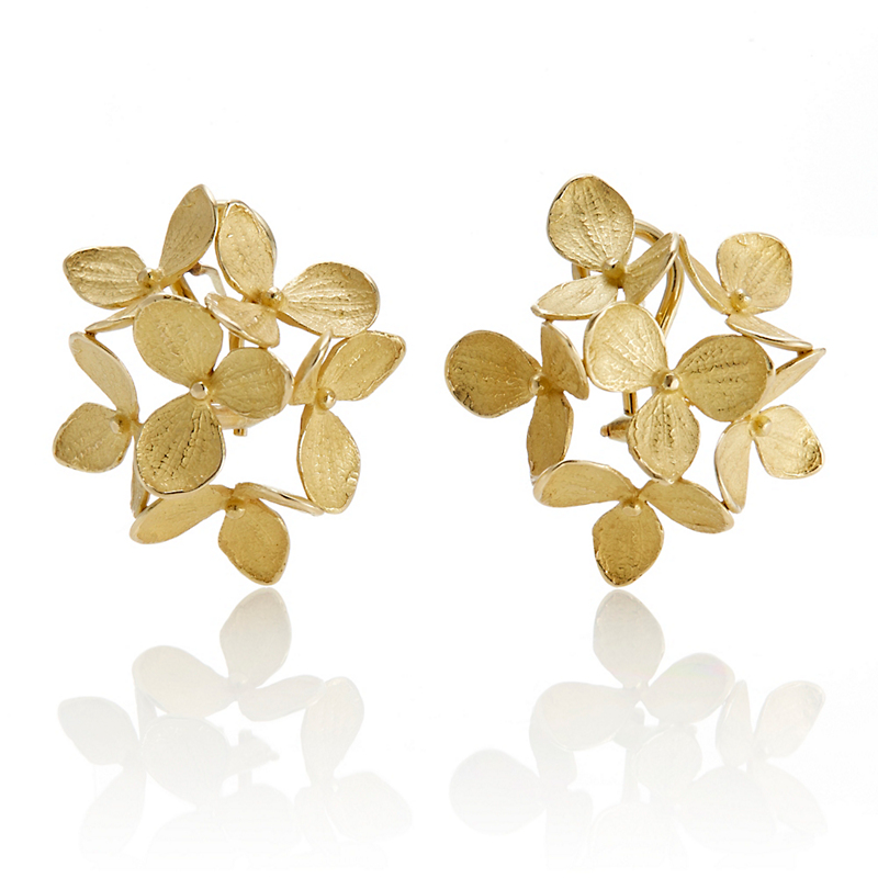 John Iversen Gold Hydrangea Cluster Earrings