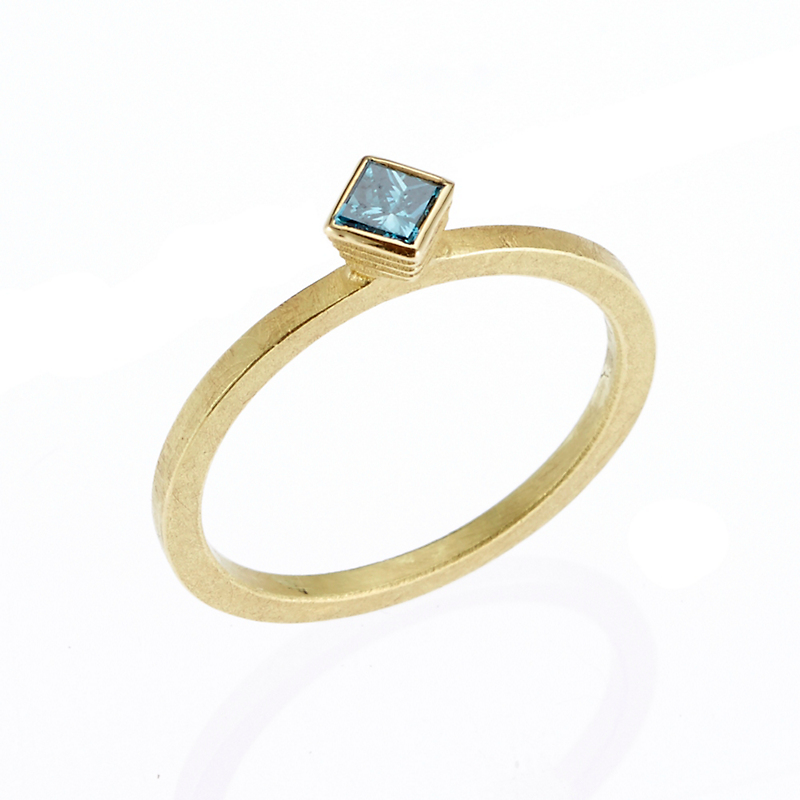 Barbara Heinrich Petite Square Blue Diamond Stacking Ring
