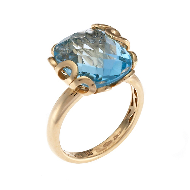 Miseno Sea Leaf Faceted Blue Topaz Gold Ring