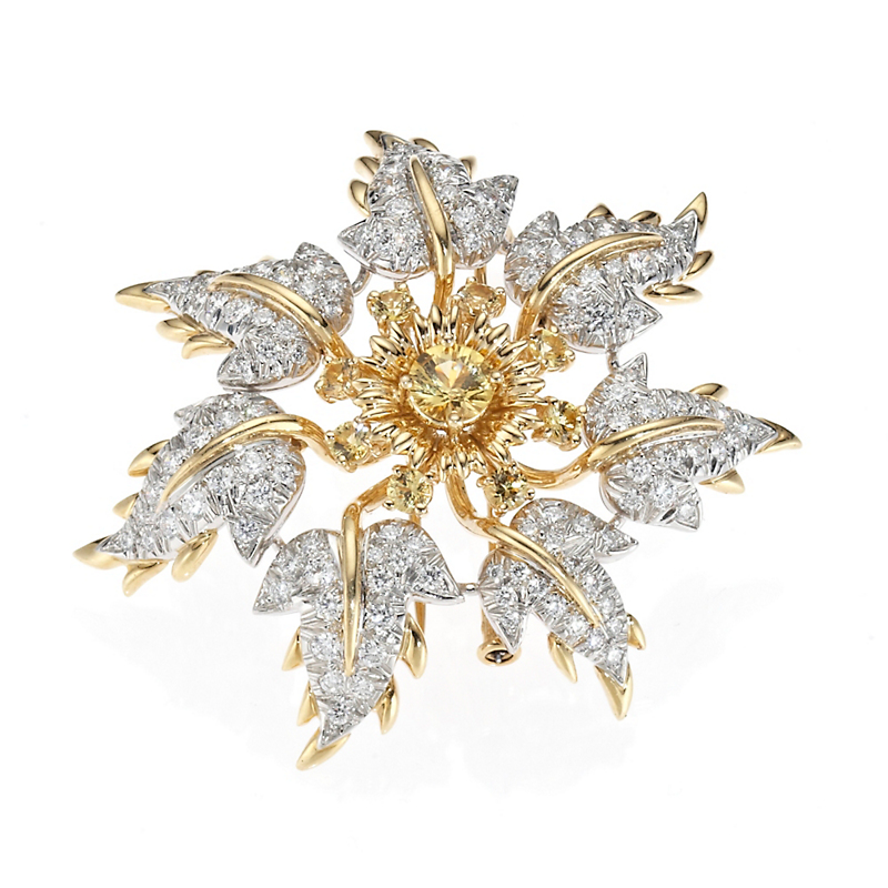 Estate Diamond & Yellow Sapphire Leaf Brooch