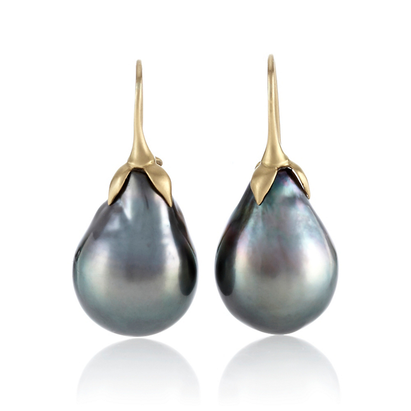 Gabriella Kiss Tahitian Pearl Eggplant Drop Earrings