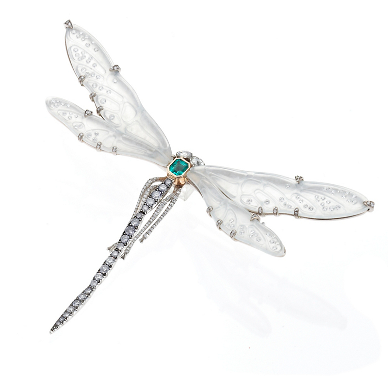 Cicada Carved Jadeite & Diamond Dragonfly Brooch