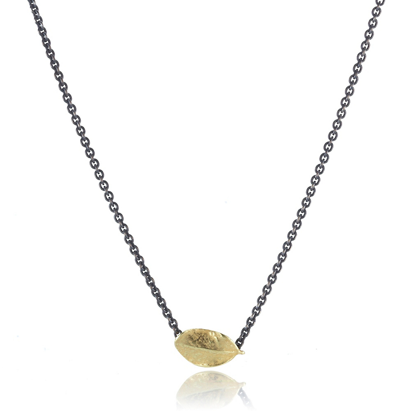 John Iversen Petite Gold Boxwood Leaf Oxidized Silver Necklace