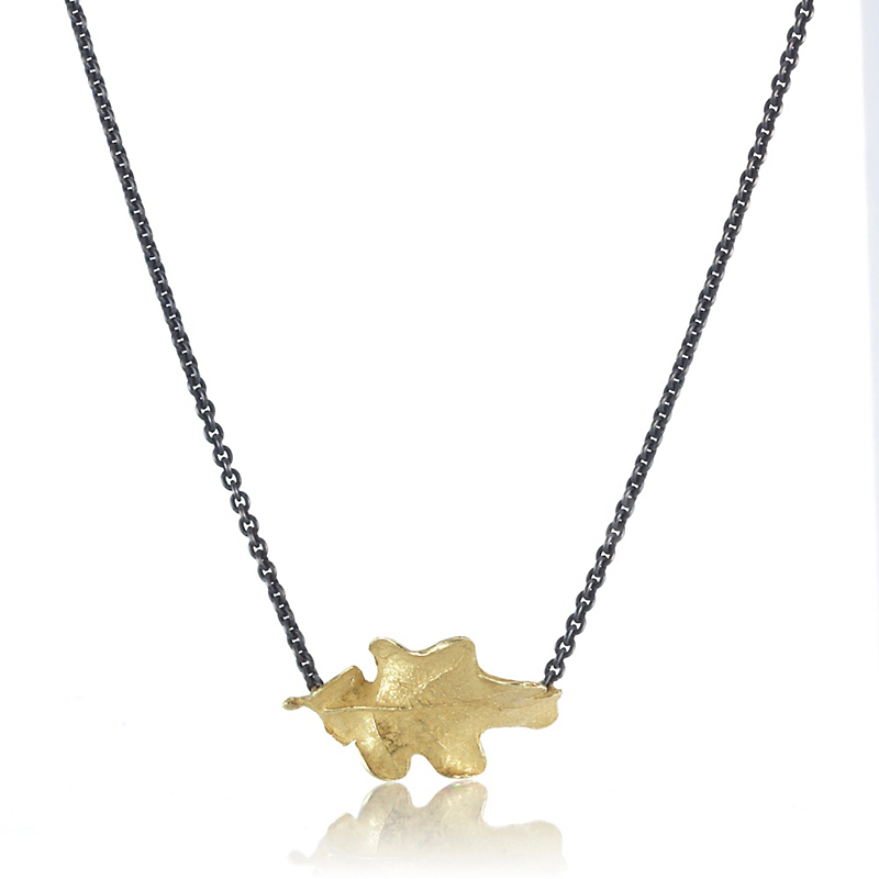 John Iversen Gold Oak Leaf Oxidized Silver Necklace