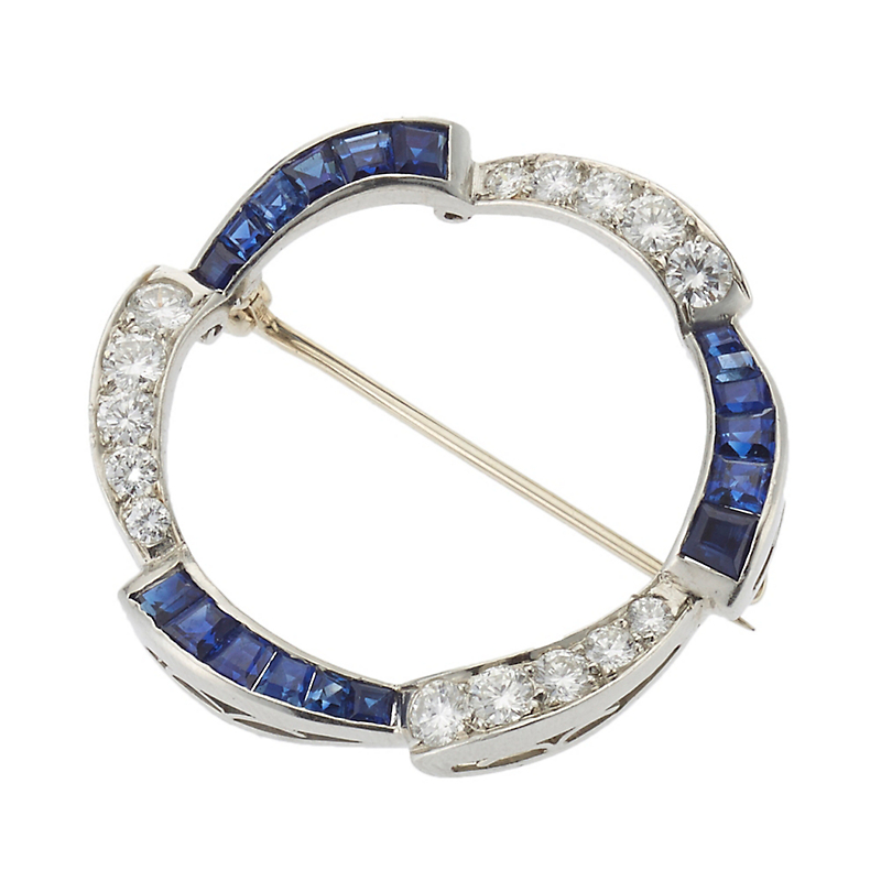 Estate Sapphire and Diamond Platinum Circle Brooch