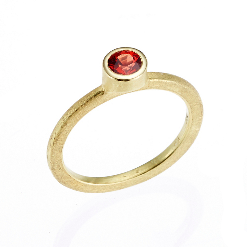 Barbara Heinrich Petite Round Red Sapphire Stacking Ring