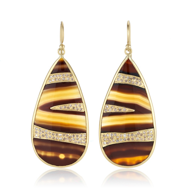 Kothari Brazilian Agate & Pavé Diamond Bali Earrings
