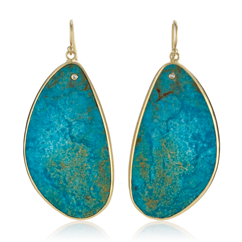 Kothari Large Turquoise Slice & Diamond Belize Earrings