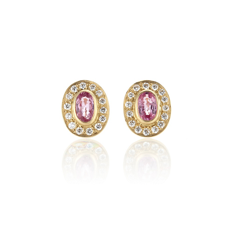 Kothari Petite Pink Sapphire & Diamond Halo Stud Earrings