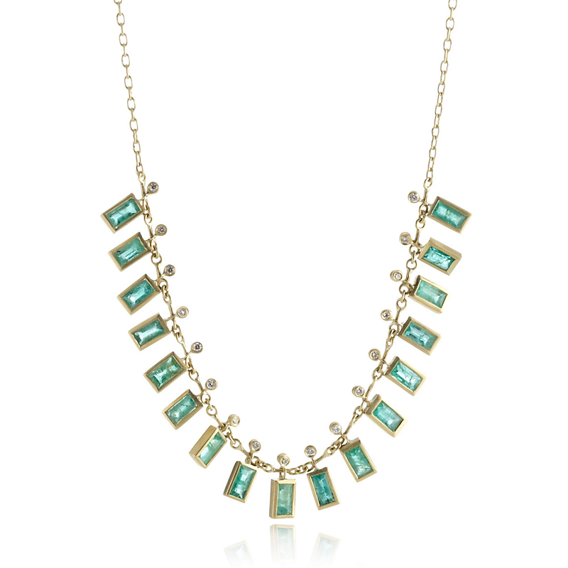 Kothari Emerald Baguette Demi-Fringe Necklace