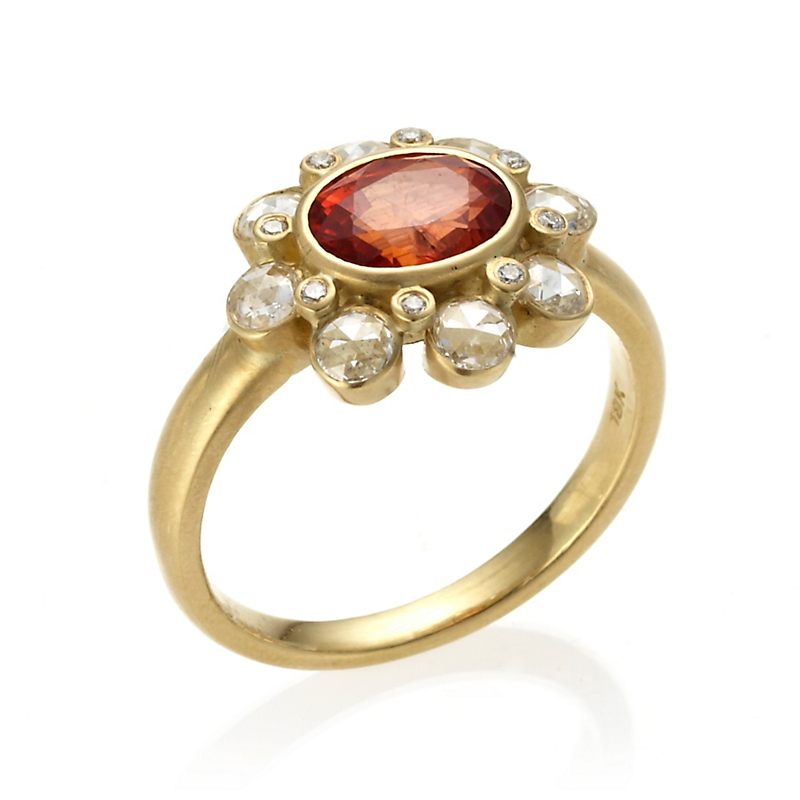 Kothari Red Andesine Aster Flower Ring