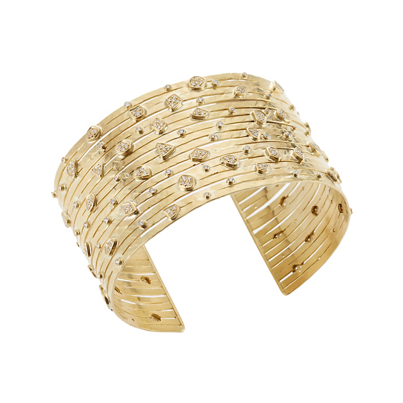 Kothari Hammered Strand Gold and Diamond Cuff
