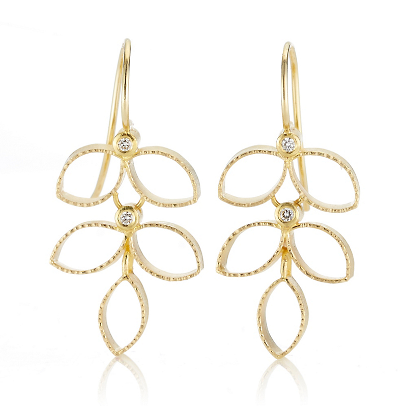 Barbara Heinrich Diamond Cellular Leaf Drop Gold Earrings