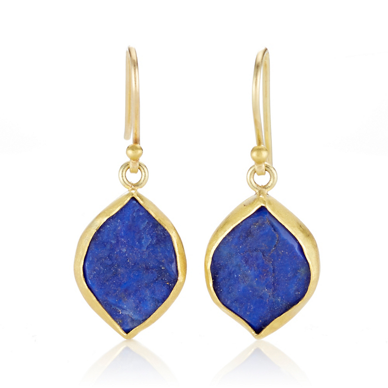 Petra Class Rough Lapis Marquise Drop Earrings