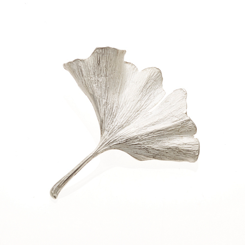 John Iversen Sterling Silver Ginkgo Leaf Long Stem Pin