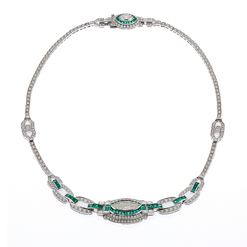 Estate Double Marquise-Cut Diamond & Emerald Platinum Necklace