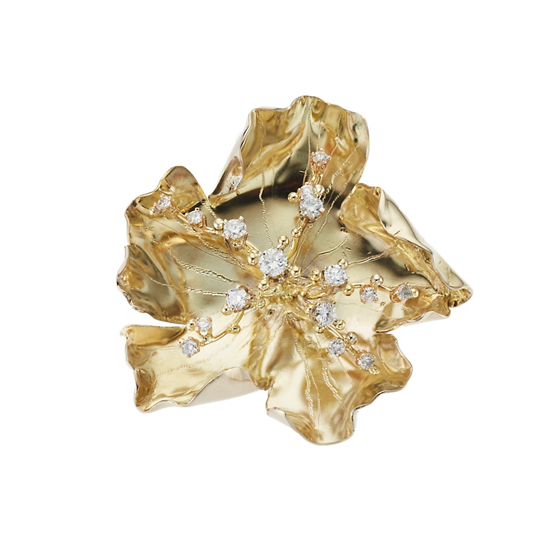 Russell Trusso Gold Blossom and Diamond Brooch