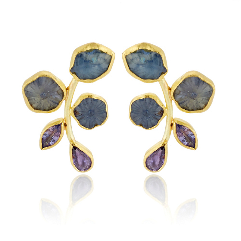 Petra Class Purple & Blue Sapphire Twig Earrings